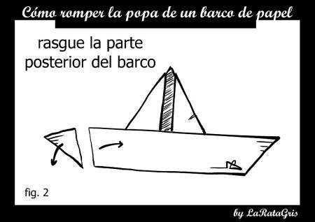 como romper la popa de un barco de papel